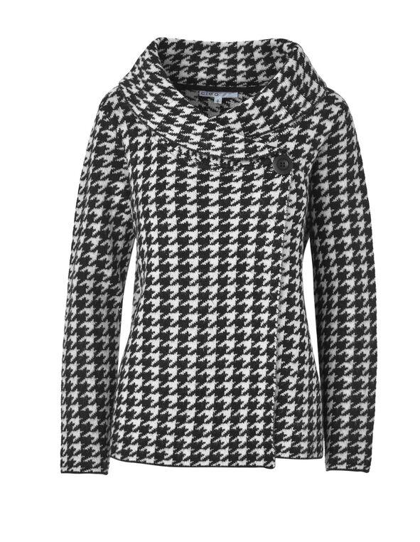 Houndstooth Roll Neck Sweater, Black, hi-res