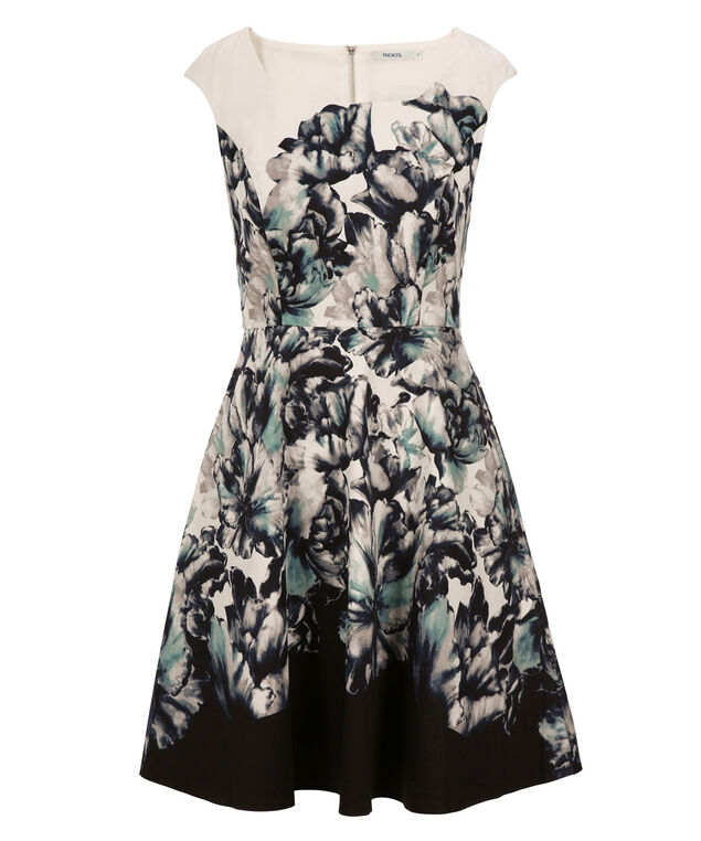 Printed Fit & Flare Dress, White/Black Print, hi-res