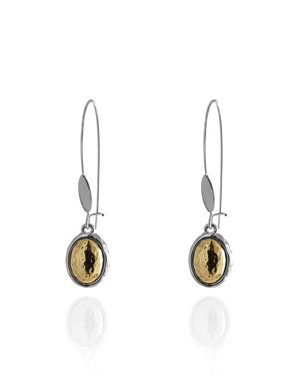 2 Tone Bead Earring, Gold/Silver, hi-res