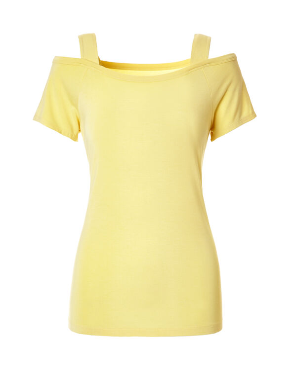 Yellow Cold Shoulder Tee, Yellow, hi-res