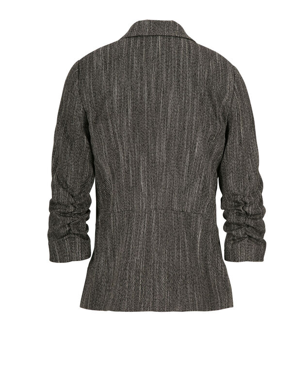 Tweed Ruched Blazer, Charcoal, hi-res
