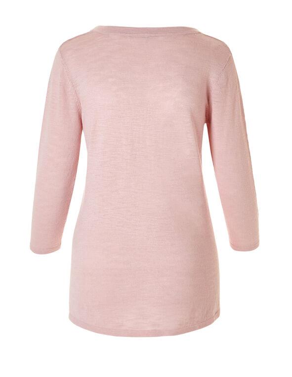 Soft Pink Side Split Sweater, Soft Pink, hi-res