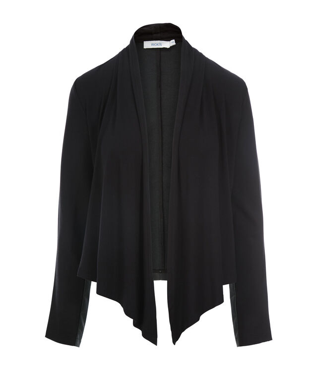 Drape Front Mixed Media Blazer, Black, hi-res