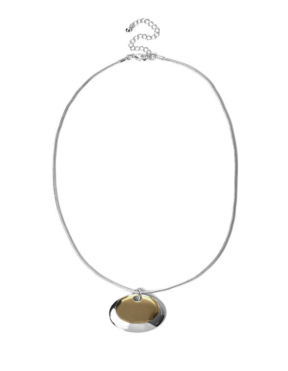 2 Tone Oval Pendant Necklace, Rhodium/Gold, hi-res