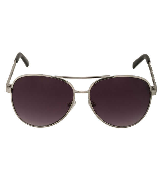 Twisted Arm Aviator Sunglasses, Silver, hi-res