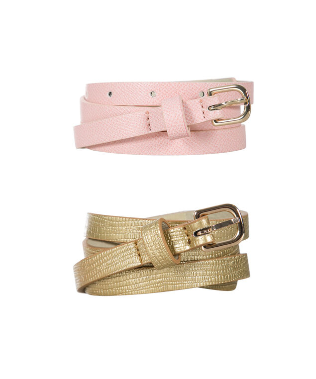 Skinny Belt Duo, Soft Coral/Gold, hi-res