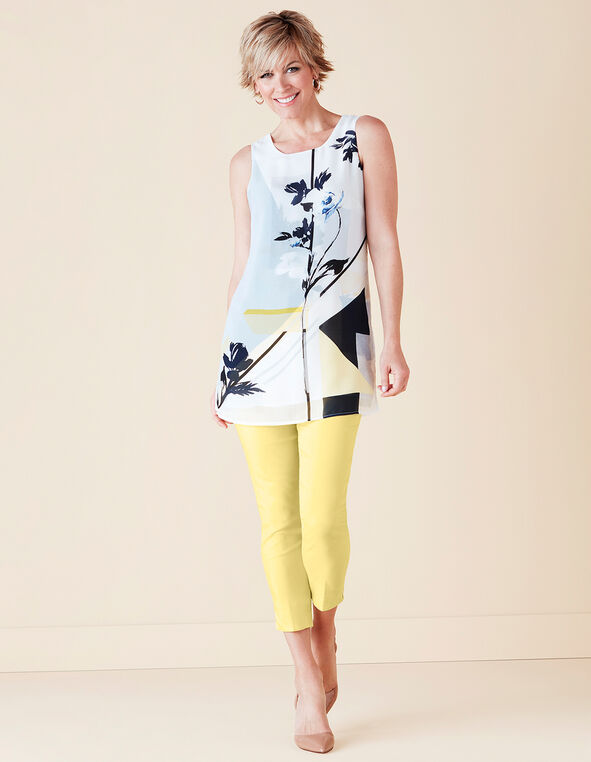 Yellow Floral Tunic Blouse, Yellow/Navy/White/Grey, hi-res