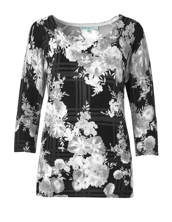 White Floral Pullover Sweater, Black/Ivory/Grey, hi-res