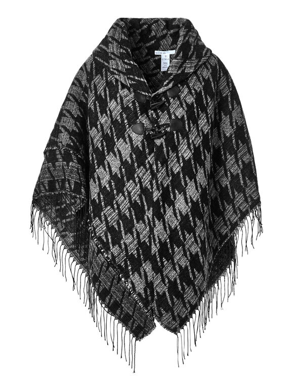 Houndstooth Fringe Poncho, Black/Grey, hi-res