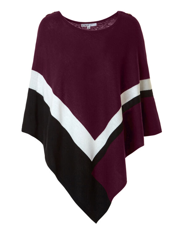 Claret Button Poncho Sweater, Claret/Black/White, hi-res