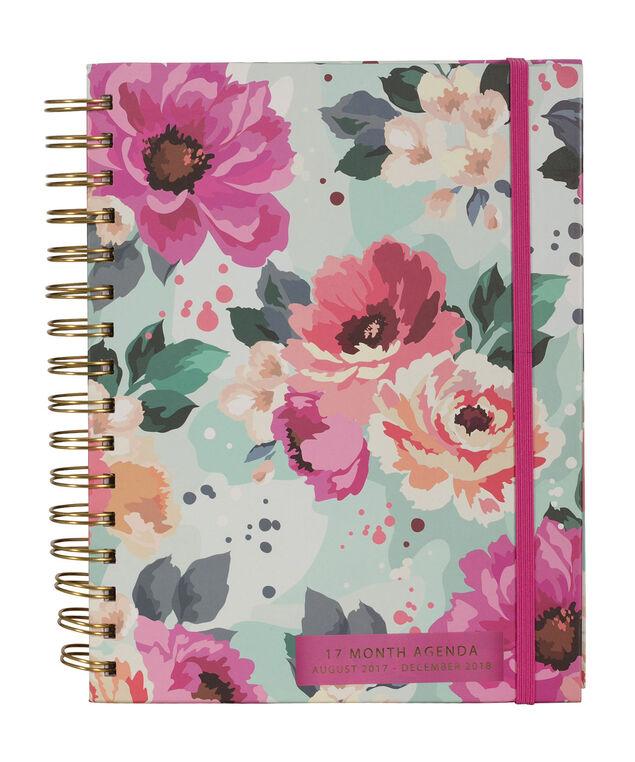 Floral 17 Month Agenda, Pink/Blue, hi-res
