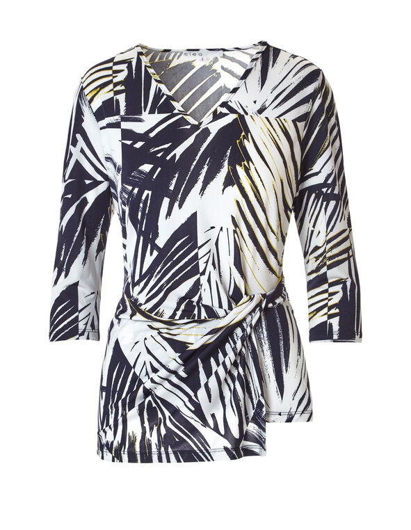 Navy Palm Print Top, Navy/White/Yellow, hi-res