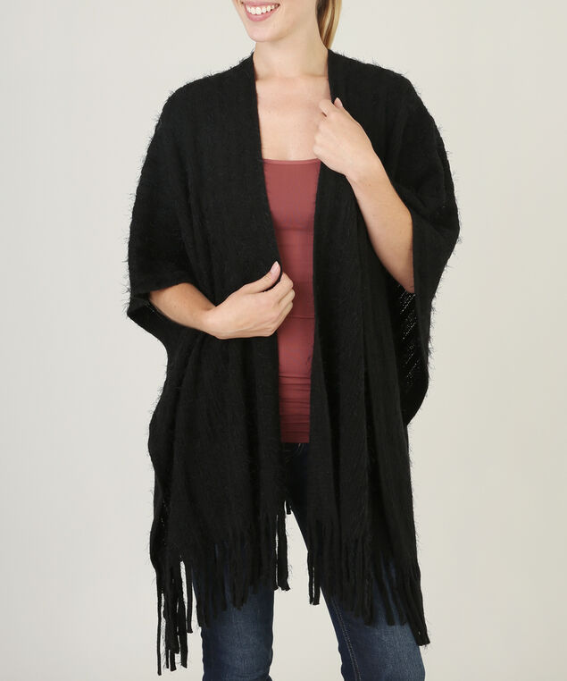 shawl with fringe hemline - wb, BLACK, hi-res