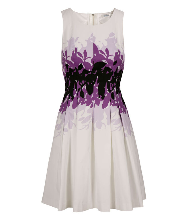 Purple Print Fit & Flare Dress, White/Purple, hi-res