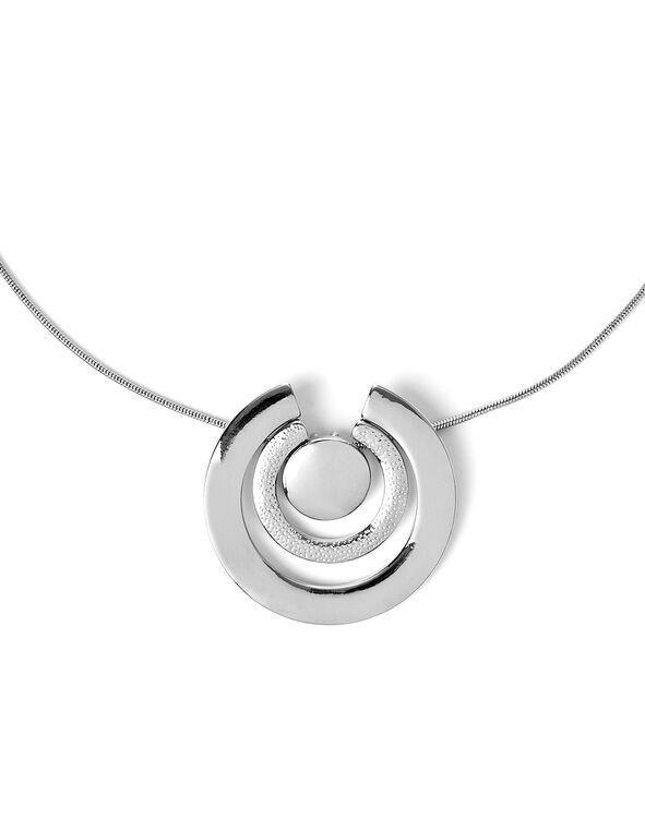 Circle Pendant Necklace, Rhodium, hi-res