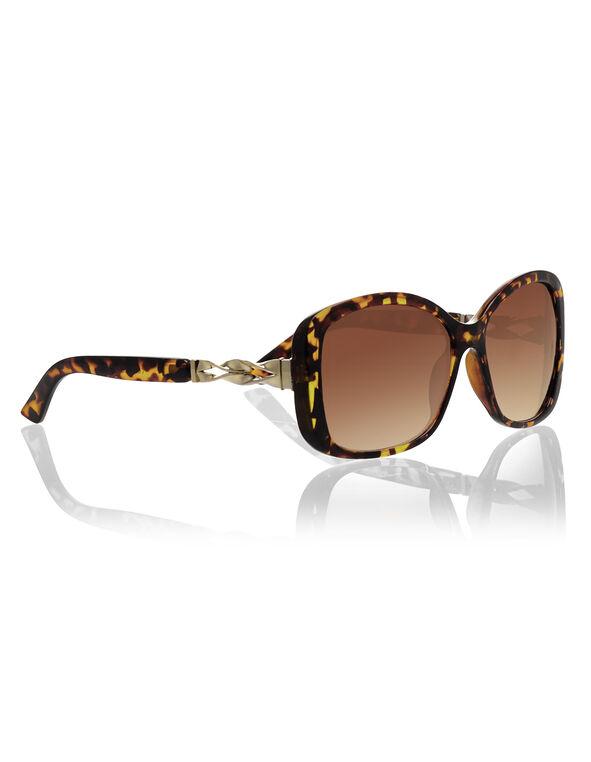 Brown Tortoise Print Sunglasses, Brown/Gold, hi-res