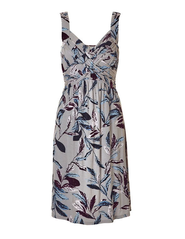 Leaf Print Crossover Dress, Stone/Bordeaux/Washed Blue, hi-res