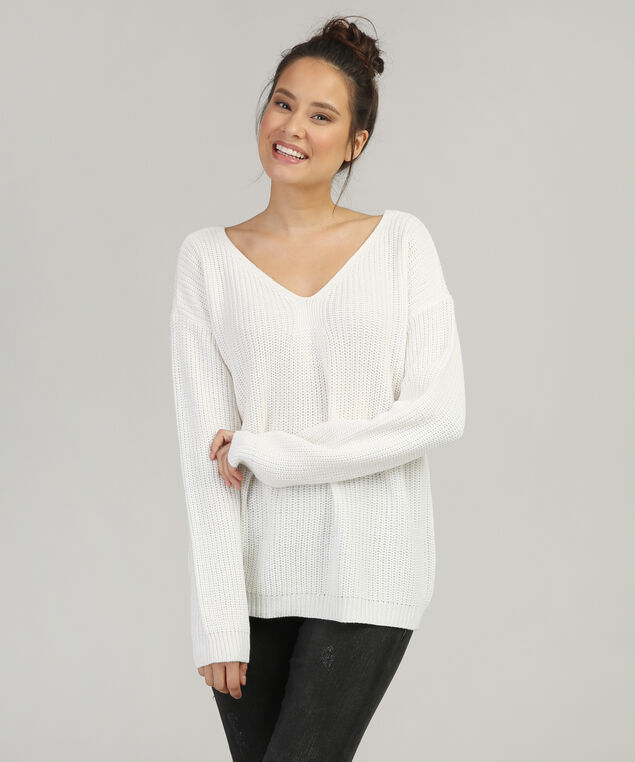 lace up back sweater - wb, WINTER WHITE, hi-res