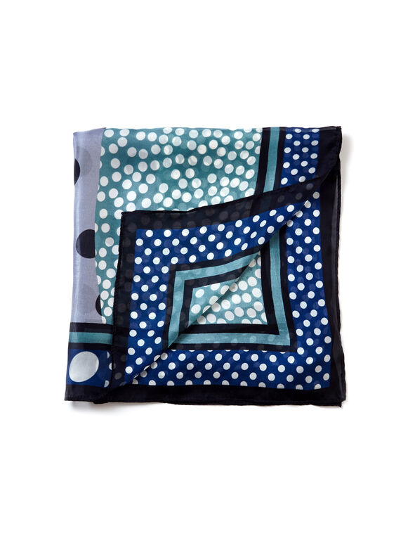 Blue Square Scarf, Blue/White/Teal/Black, hi-res