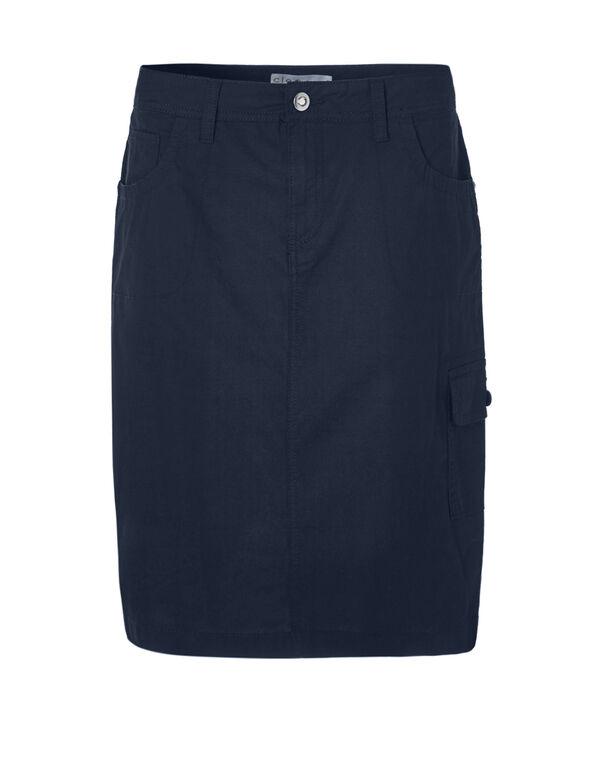 Navy Poplin Cargo Skirt, Navy, hi-res