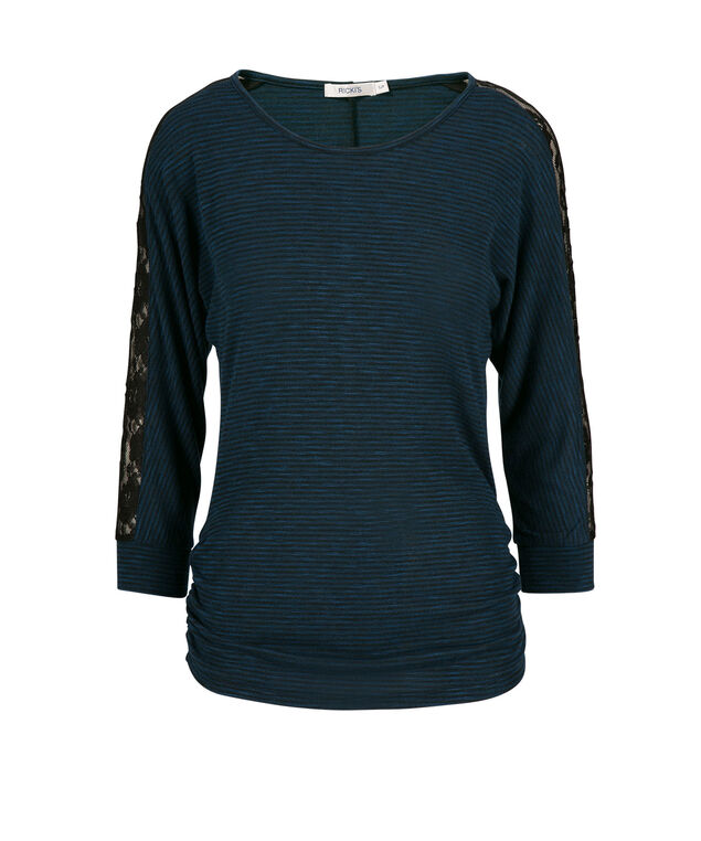 Lace Insert Sleeve Top, Deep Teal, hi-res