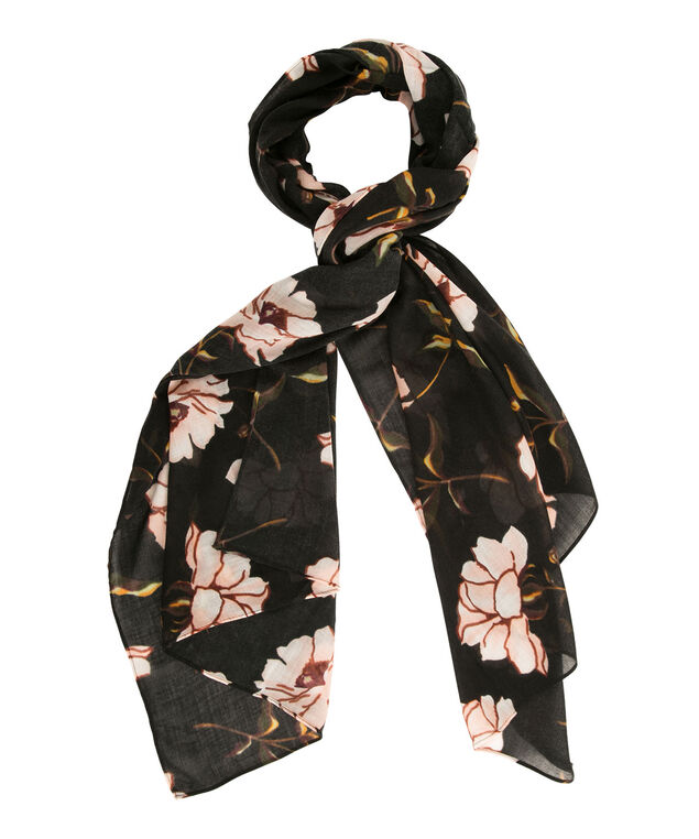 Black Floral Scarf, Black/Peachy Pink, hi-res