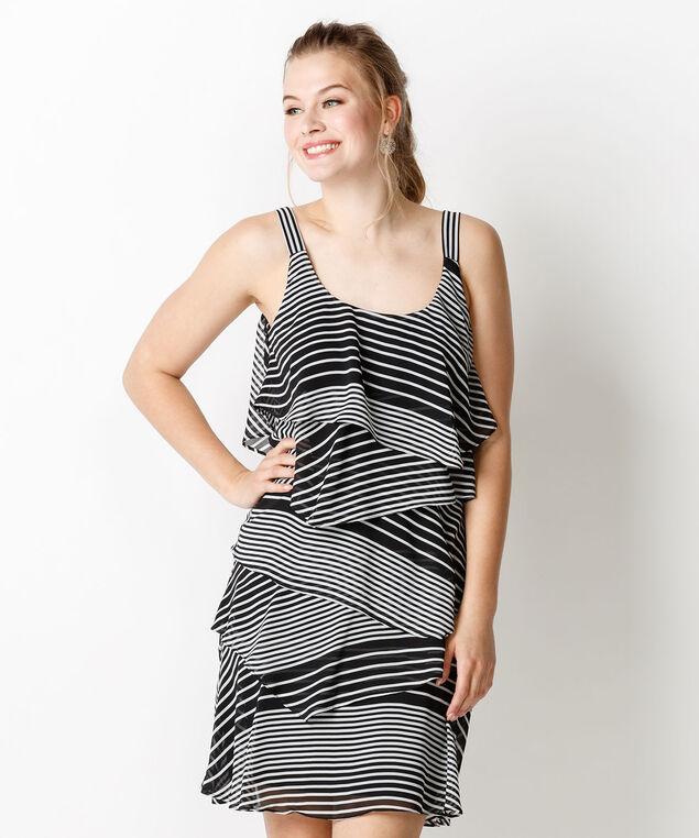 Robbie Bee Layered Stripe Dress, Black/White Stripe, hi-res