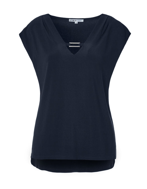 Navy Metal Trim Top, Navy, hi-res