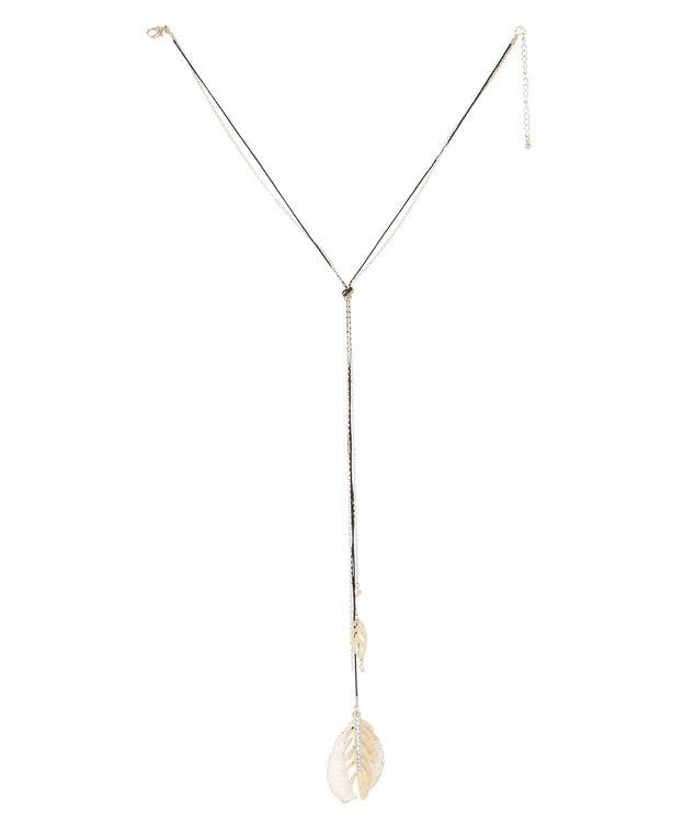 long necklace with leaf pendants, PASTELS/GOL, hi-res