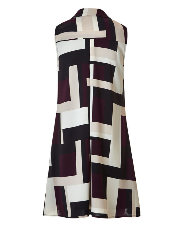 Claret A-Line Shirt Dress, Black/Latte/Claret/Ivory, hi-res