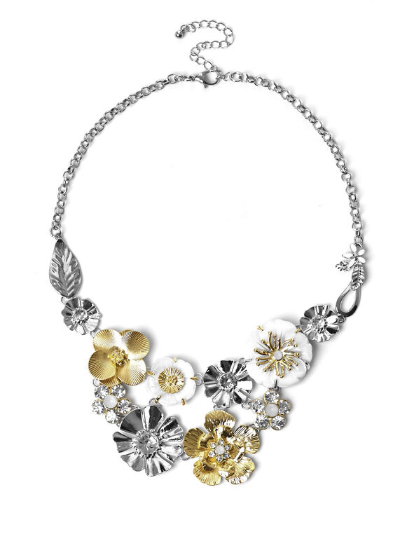 2 Tone Floral Necklace, Gold/Silver, hi-res