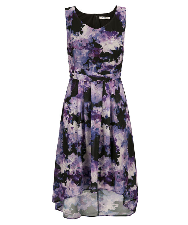 Chiffon Waist High Low Dress, Purple Print, hi-res