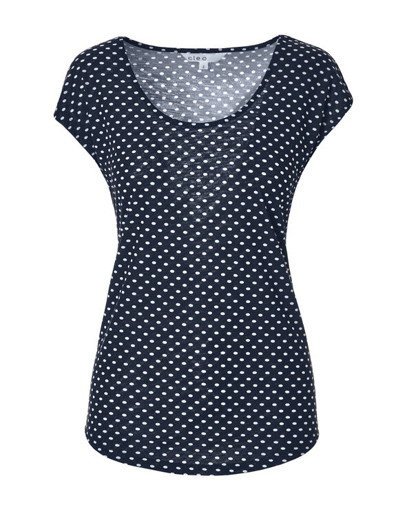 Navy Dot Deep Scoop Tee, Navy/White, hi-res