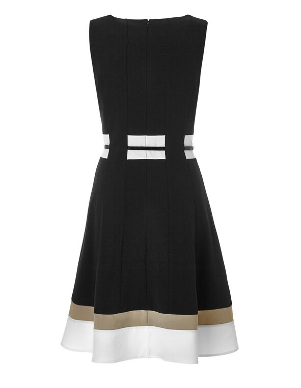 Colour Block Fit and Flare Dress, Black/White/Nude, hi-res
