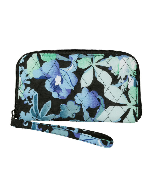 Quilted Floral Wallet, Blue/Green, hi-res
