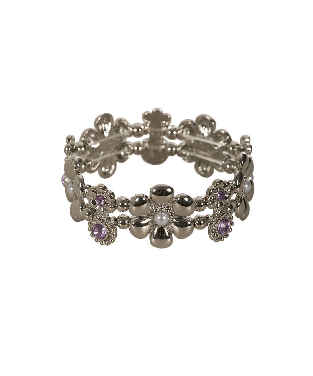 Floral & Crystal Stretch Bracelet, Lilac/Rhodium, hi-res