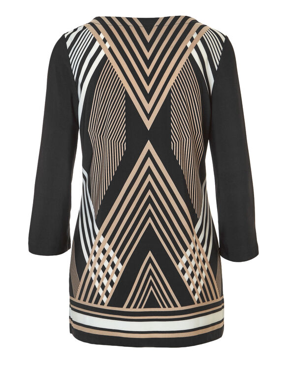 Patterned Key Hole Tunic, Black/Ivory, hi-res