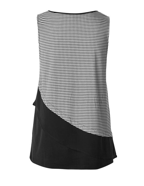 Asymmetrical Houndstooth Top, Black/Ivory, hi-res