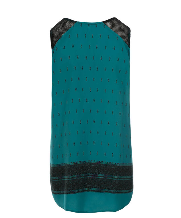 Crochet Neckline Blouse, Lagoon Print, hi-res
