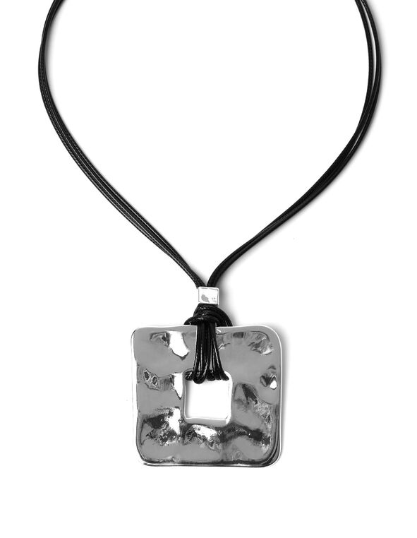 Silver Square Pendant Necklace, Silver/Black, hi-res