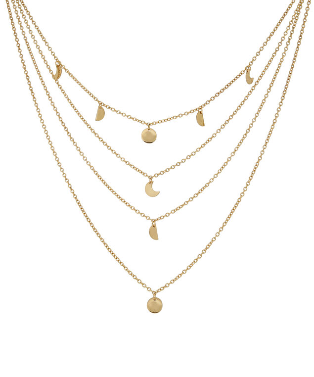 4 strand layered necklace, GOLD, hi-res