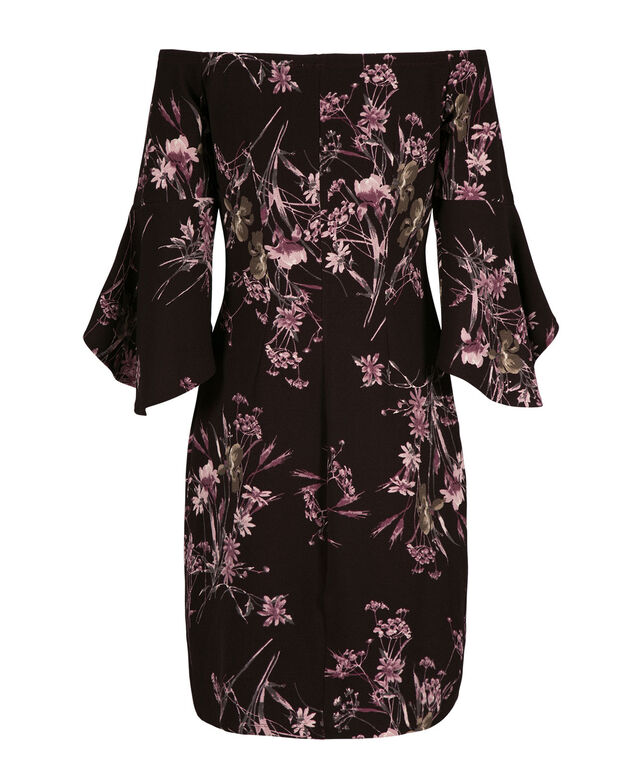 Bell Sleeve Romance Dress, Burgundy/Plum, hi-res