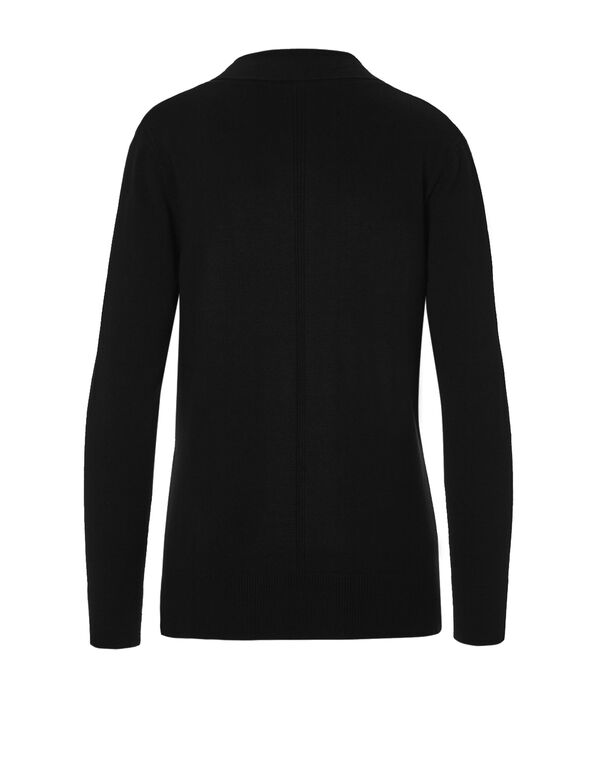 Black Mid Ribbed Cardigan, Black, hi-res