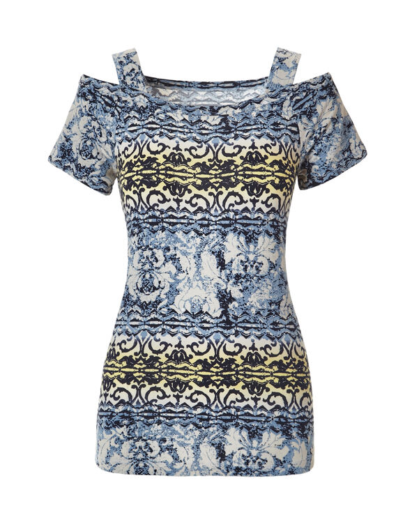 Navy Print Cold Shoulder Tee, Navy/Yellow, hi-res