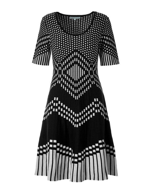 Geometric Fit and Flare Dress, Black/Ivory, hi-res