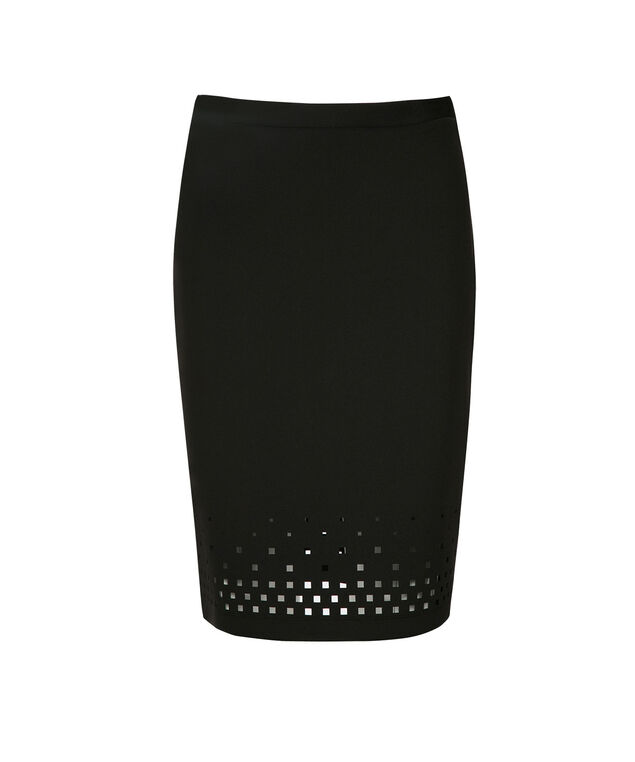 Laser Cut Skirt, Black, hi-res