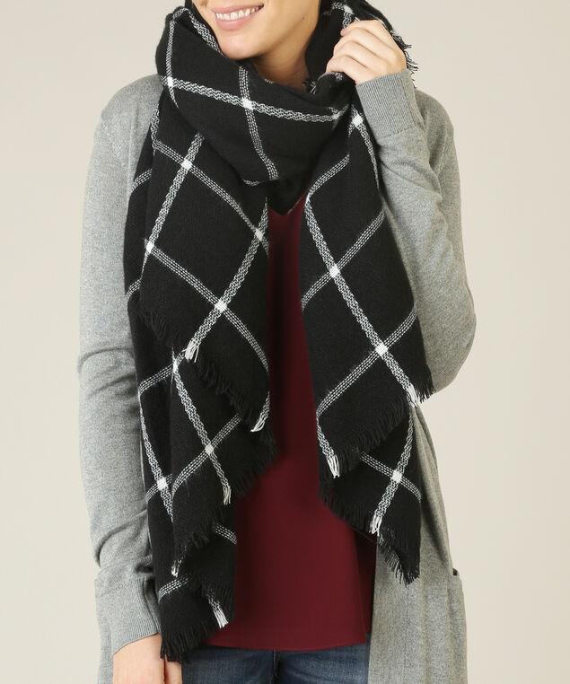 windowpane blanket scarf, BLACK/WHITE, hi-res