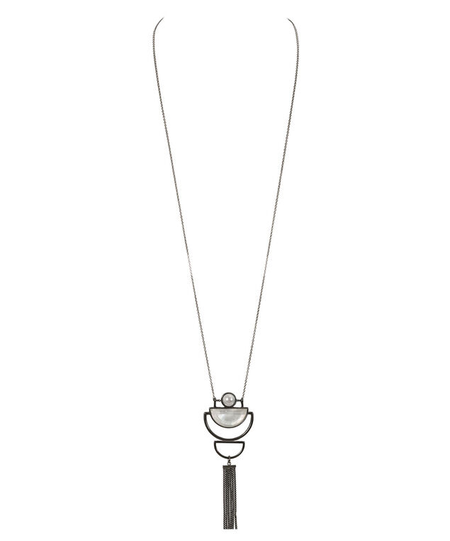 Cut Out Pendant Necklace, White/Hematite, hi-res