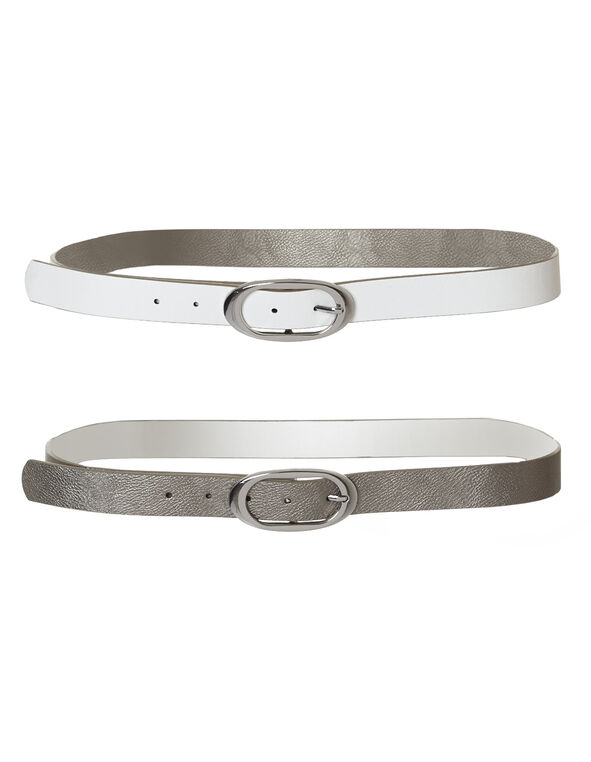 White Metallic Reversible Belt, White/Silver, hi-res
