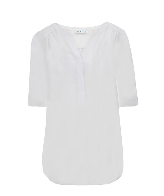 Ruched Shoulder Henley, True White, hi-res